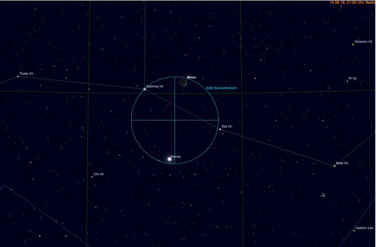 Mond und Venus im Sucherteleskop