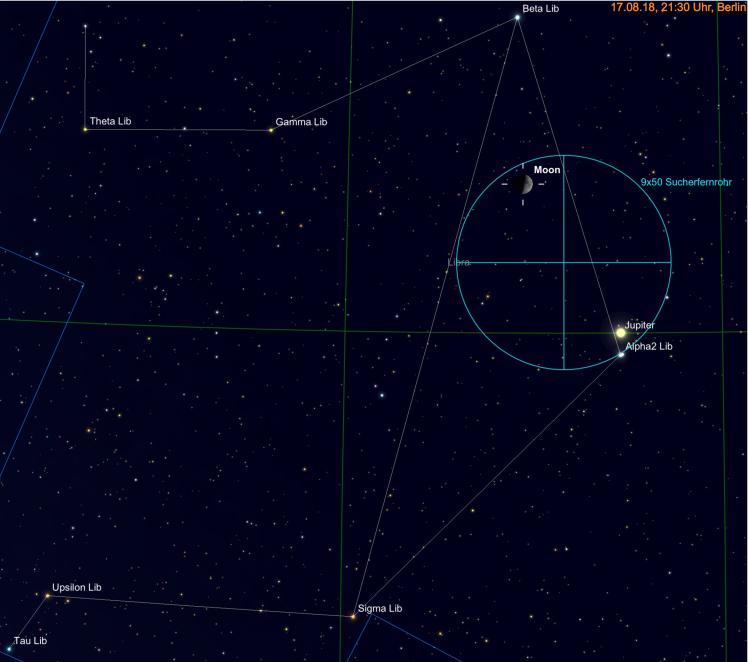 Mond und Jupiter im Sucherfernrohr