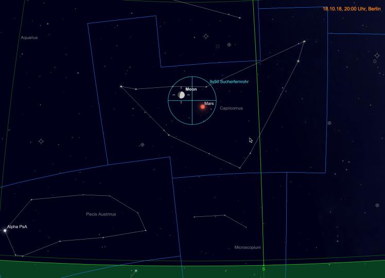 Mond nahe Mars (9-fache Vergrößerung im Fernglas)