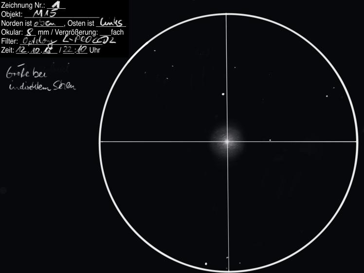 Beobachtung M15 am 12.10.18