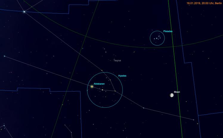 Mond, Plejaden, Hyaden, Aldebaran