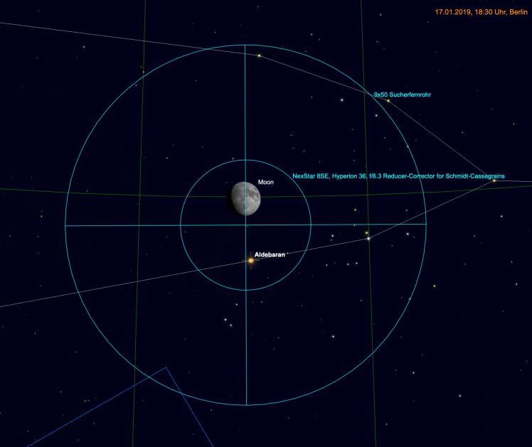 Mond und Alberan im Fernglas & Teleskop