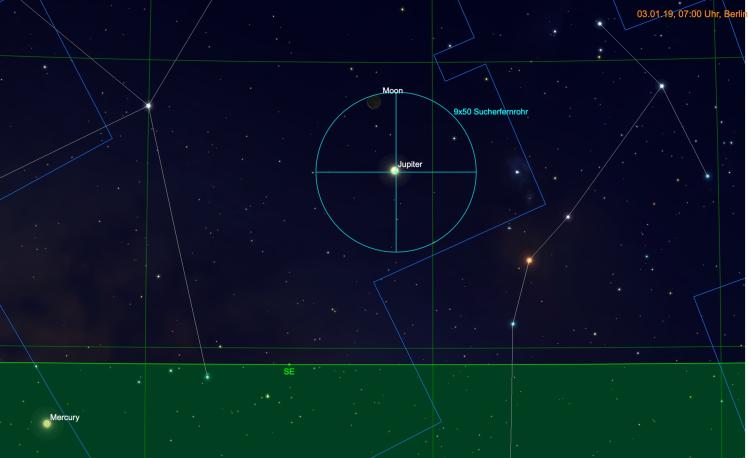 Mondsichel und Jupiter im Fernglas