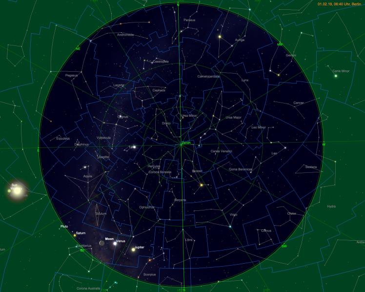 Jupiter, Venus, Saturn mit schmaler Mondsichel