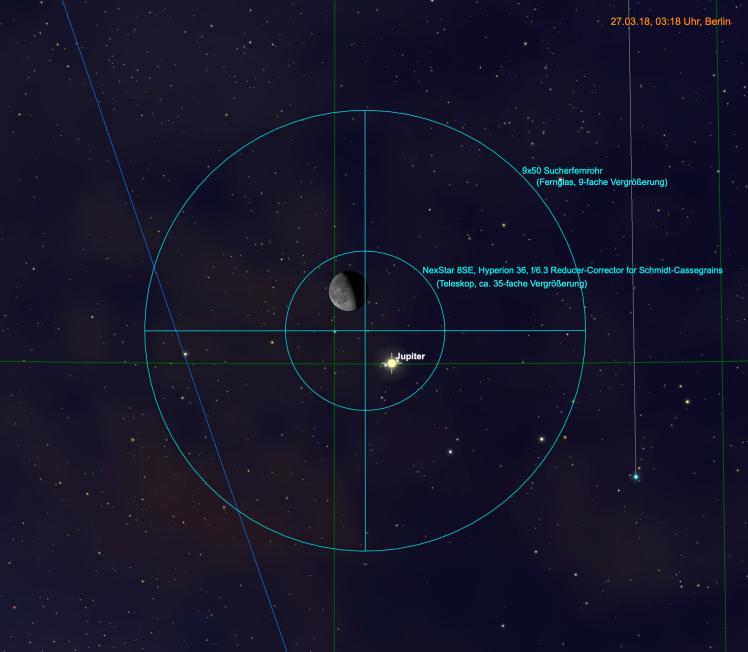 Mond und Jupiter im Teleskop und Fernglas