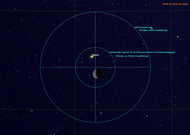 Mond und Saturn im Teleskop und Fernglas
