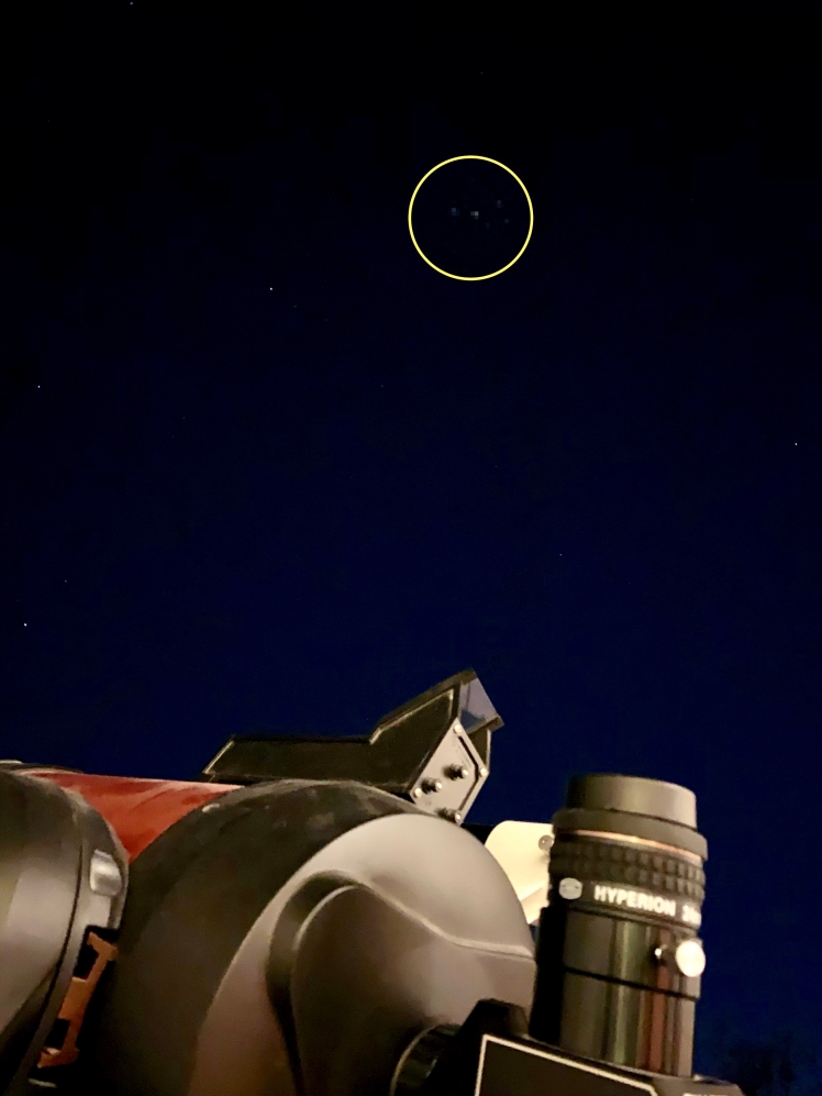 Plejaden beim Teleskopaufbau
