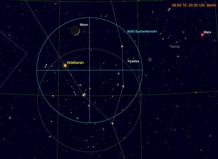 Mond, Aldebaran und Hyaden im Fernglas