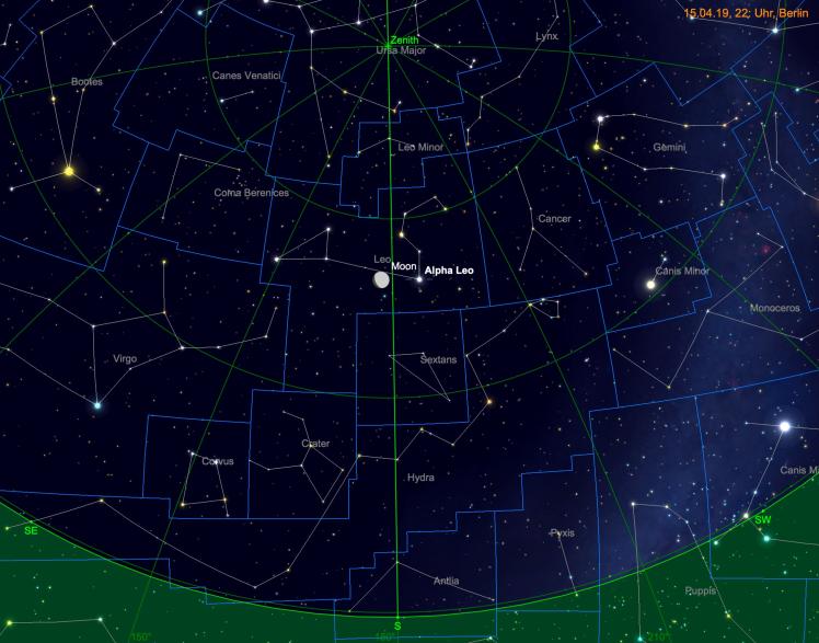 Mond in der Nähe von Regulus (Leo Alpha)