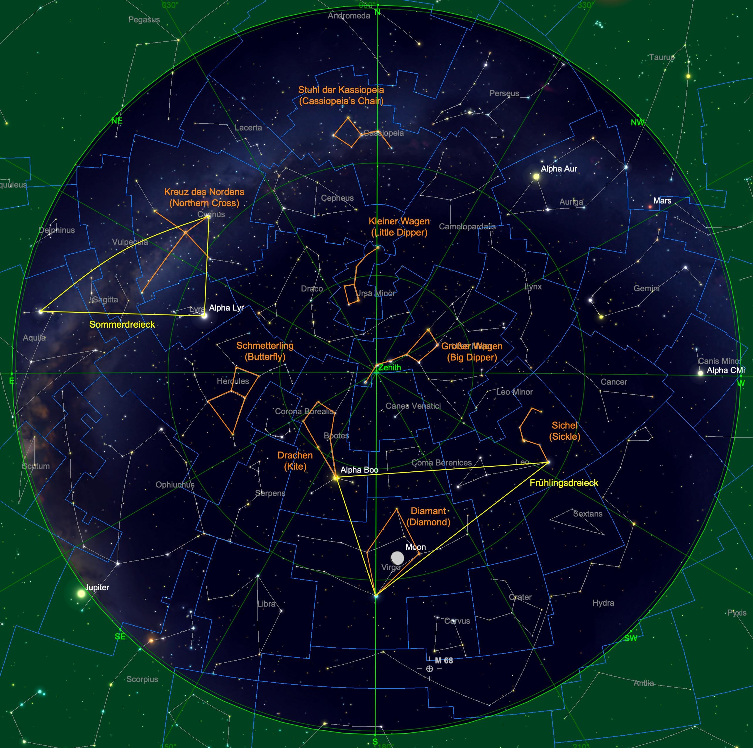 Sternhimmel am 15.04. um 23:00 Uhr