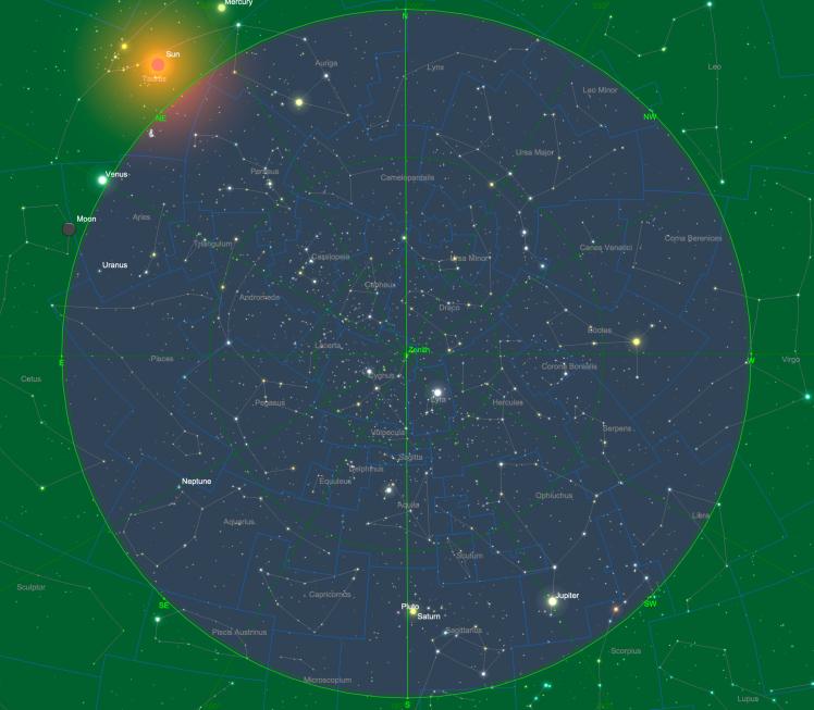 Sternhimmel am 15.06. um 04:00 Uhr