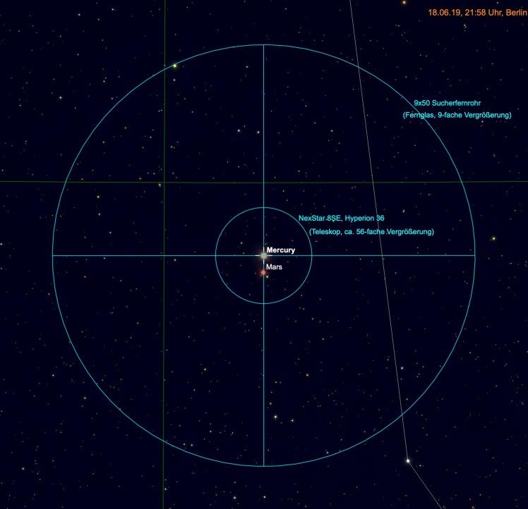 Merkur und Mars im Fernglas und Teleskop