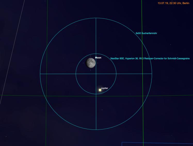 Mond und Jupiter im Fernglas & Teleskop