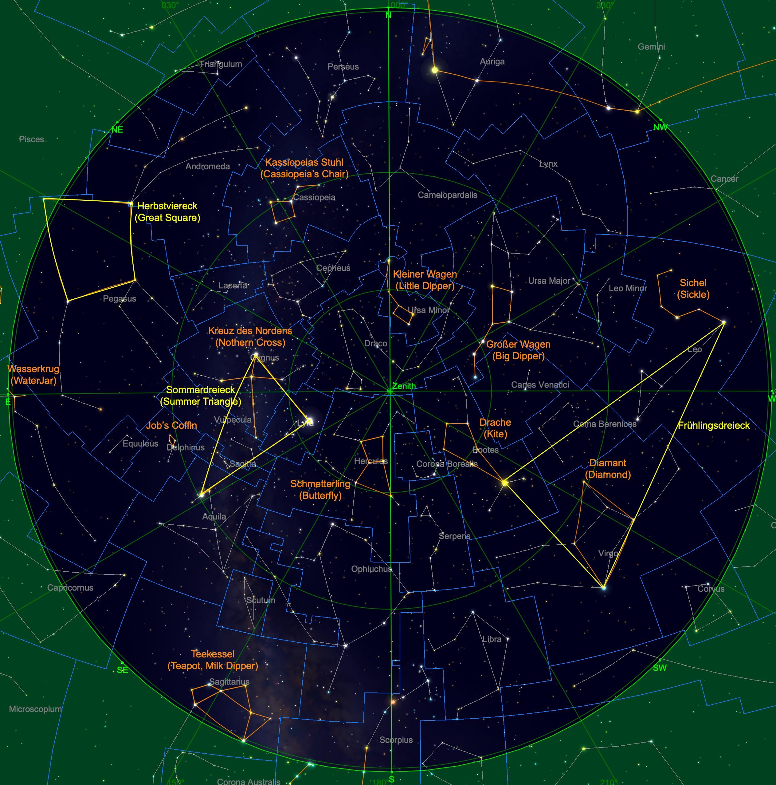 Sternhimmel am 15.07. um 23:00 Uhr