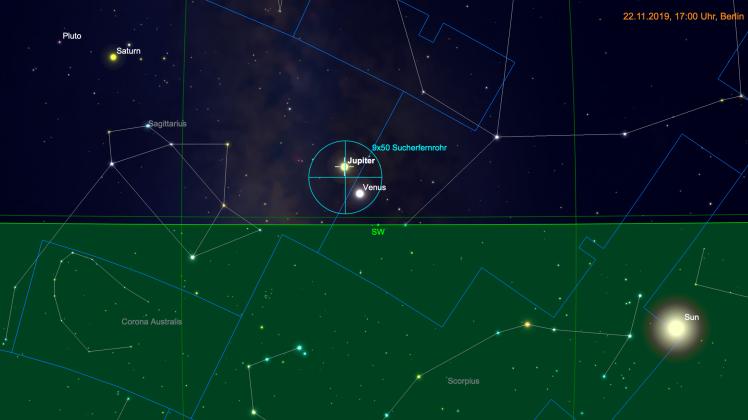 Venus und Jupiter im Fernglas