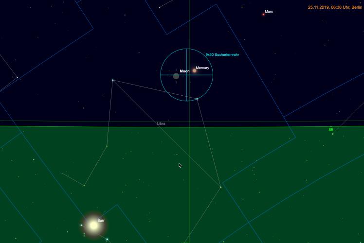 Schmale Mondsichel und Merkur im Fernglas