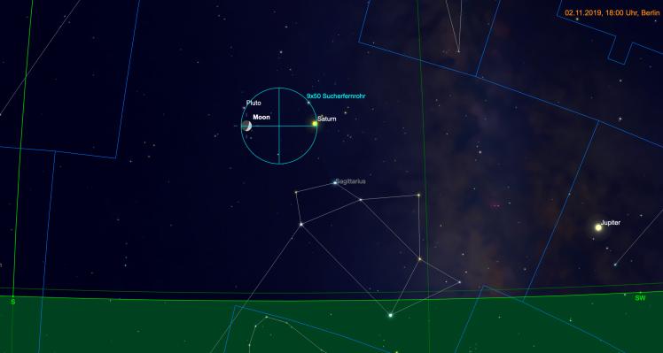 Mondsichel und Saturn im Fernglas