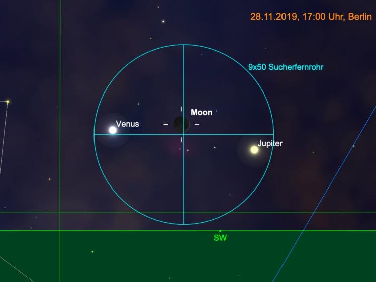 Mondsichel, Jupiter und Venus im Fernglas