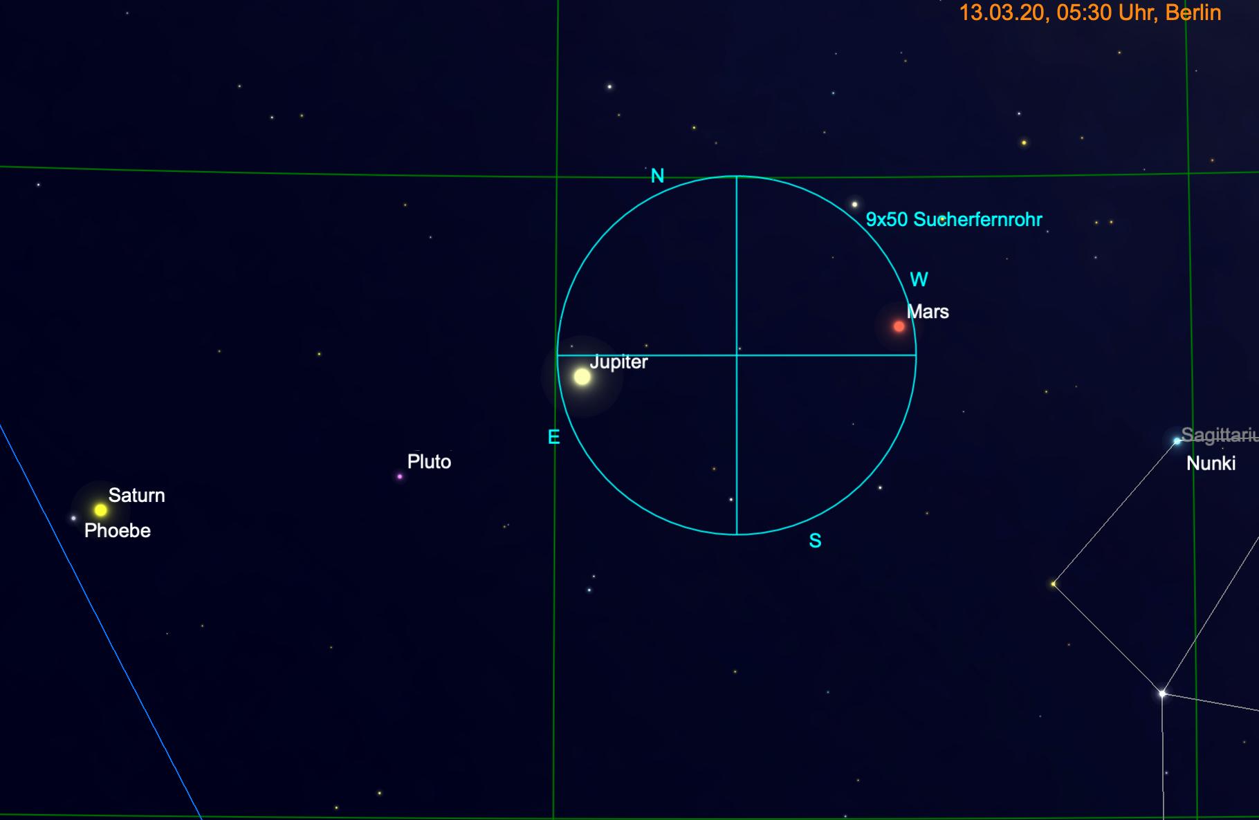 Mars und Jupiter gemeinsam im Fernglas