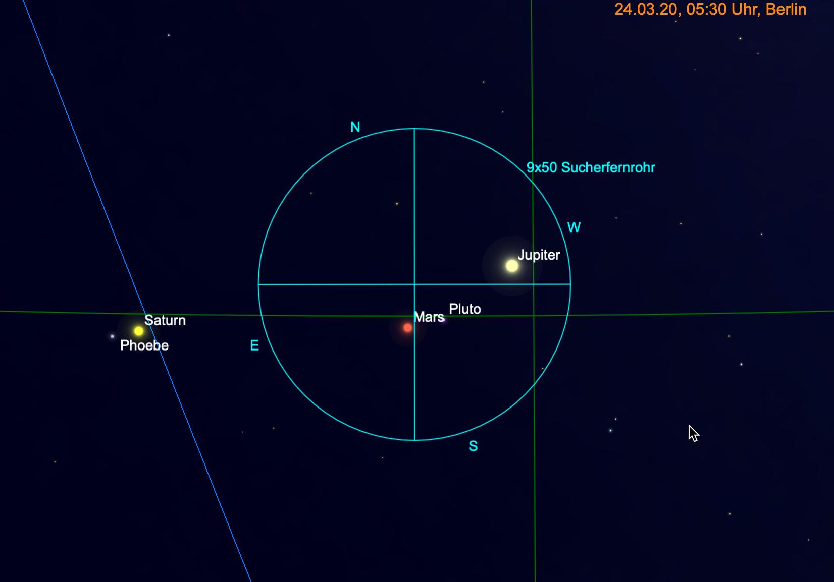 Mars und Jupiter im Fernglas