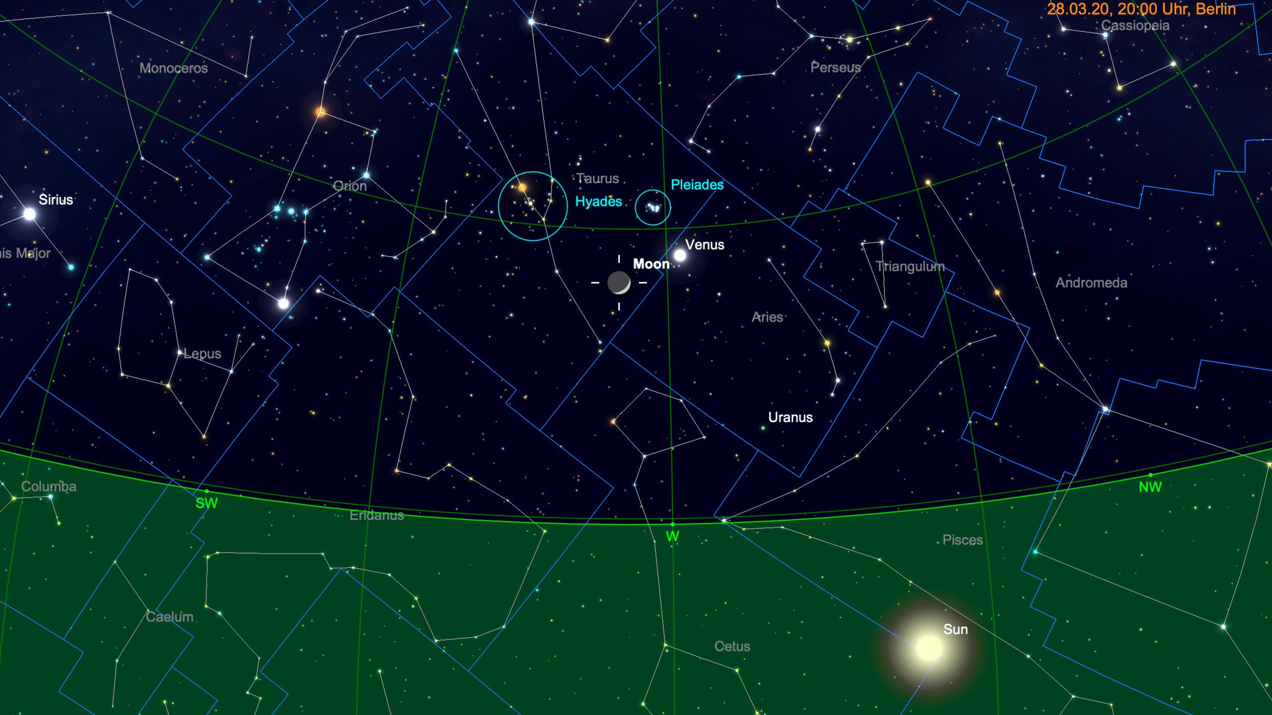 Mond, Venus, Plejaden und Hyaden