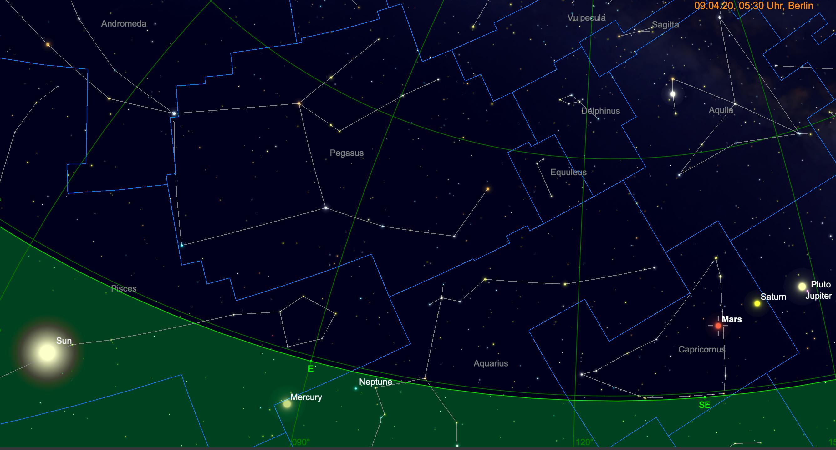 Planetenparade Jupiter, Saturn und Mars