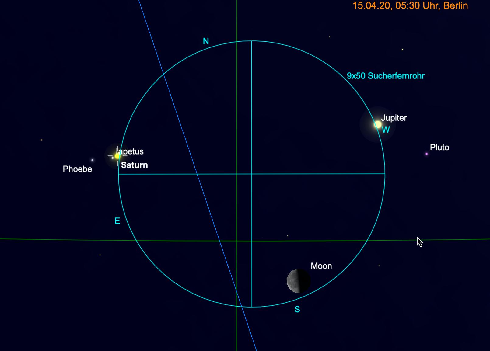 Jupiter, Saturn und Mond im Fernglas