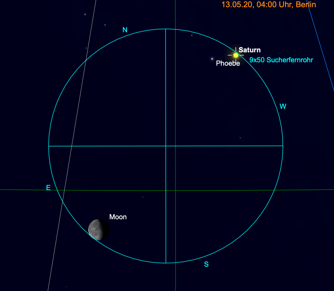 Mond und Saturn im Fernglas