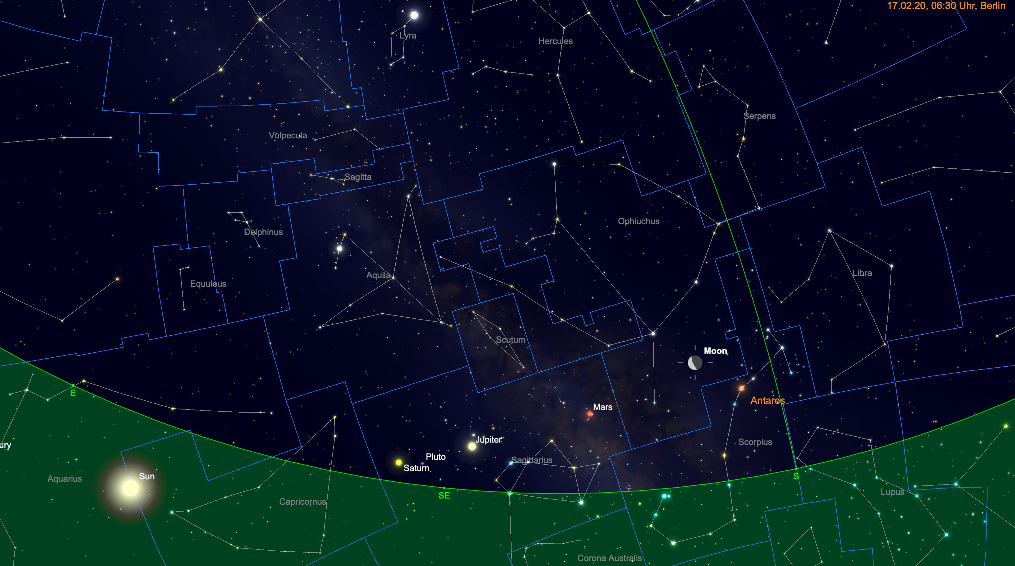 Mond zwischen Antares und Mars