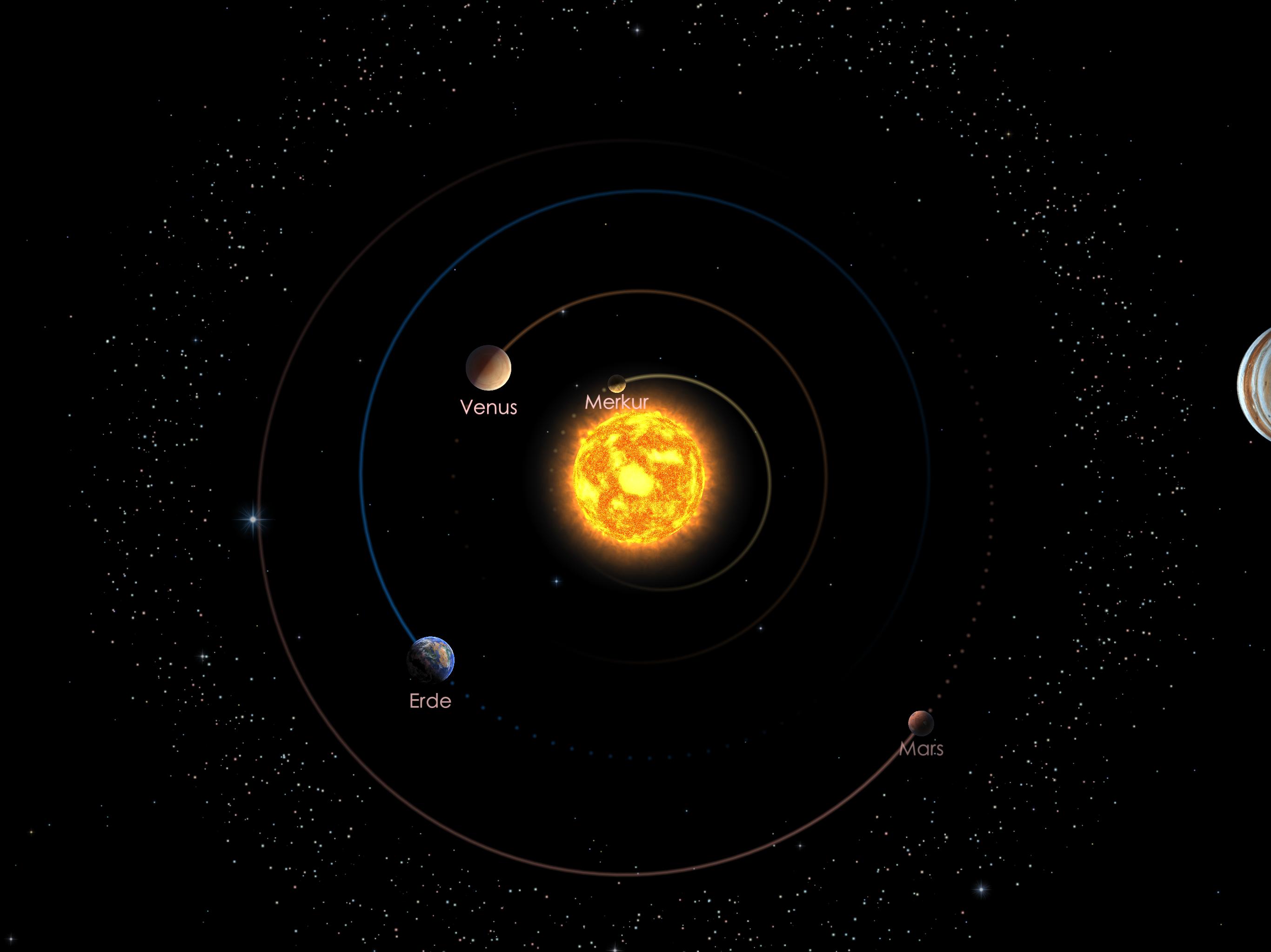 Die Positionen der inneren Planeten am 01.02.20