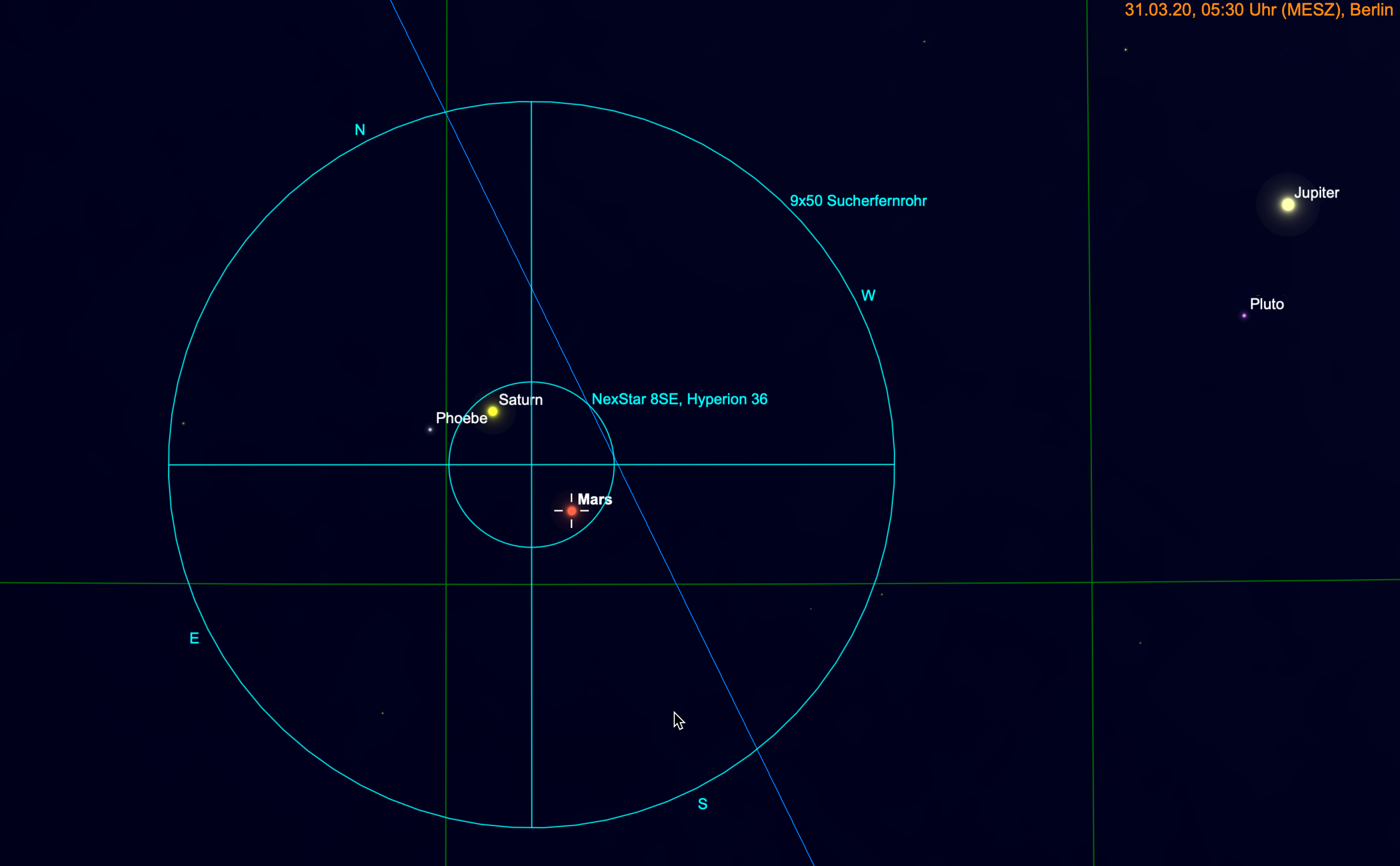 Mars und Saturn gemeinsam im Fernglas und Teleskop