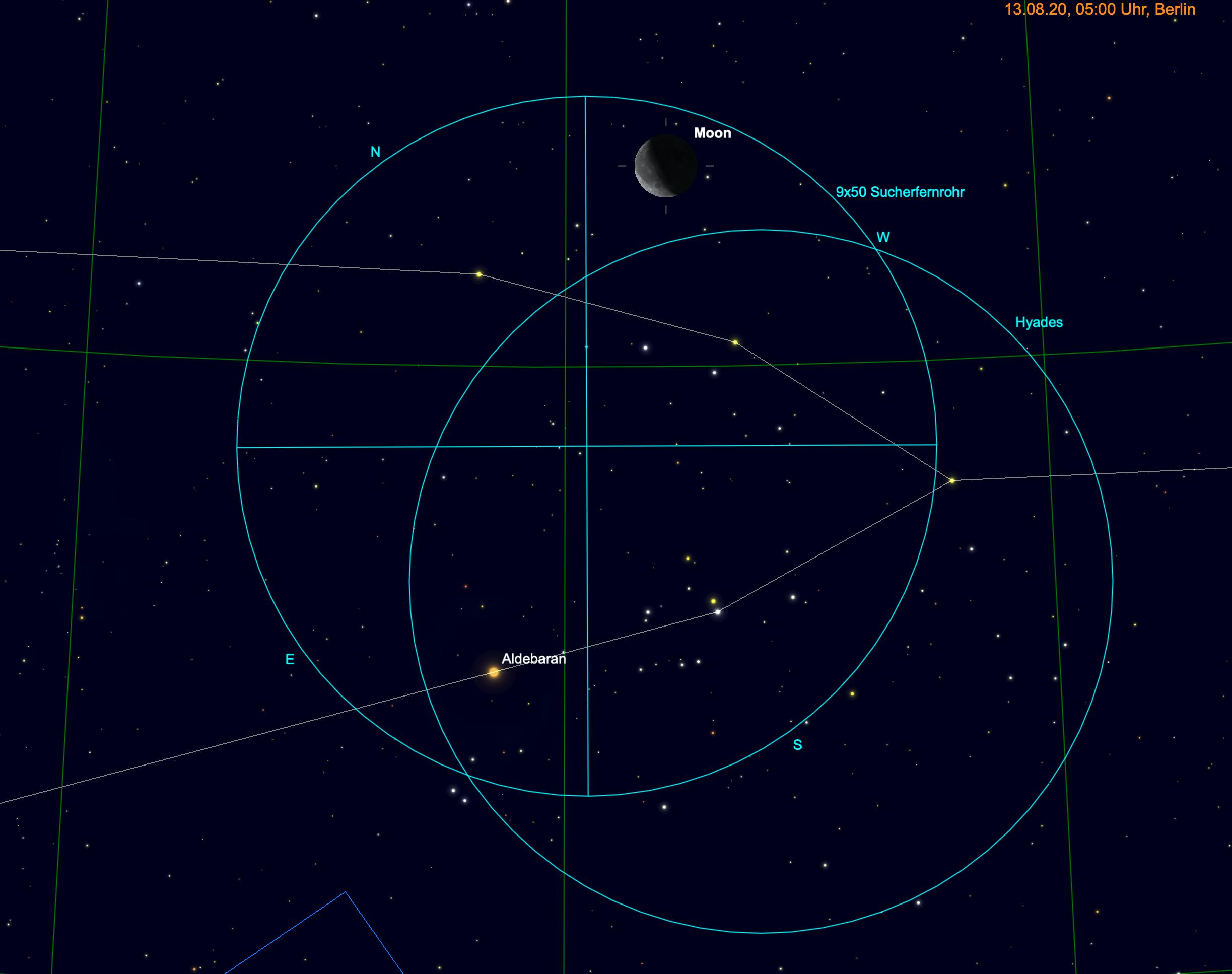 Mond, Hyaden und Aldebaran im Fernglas