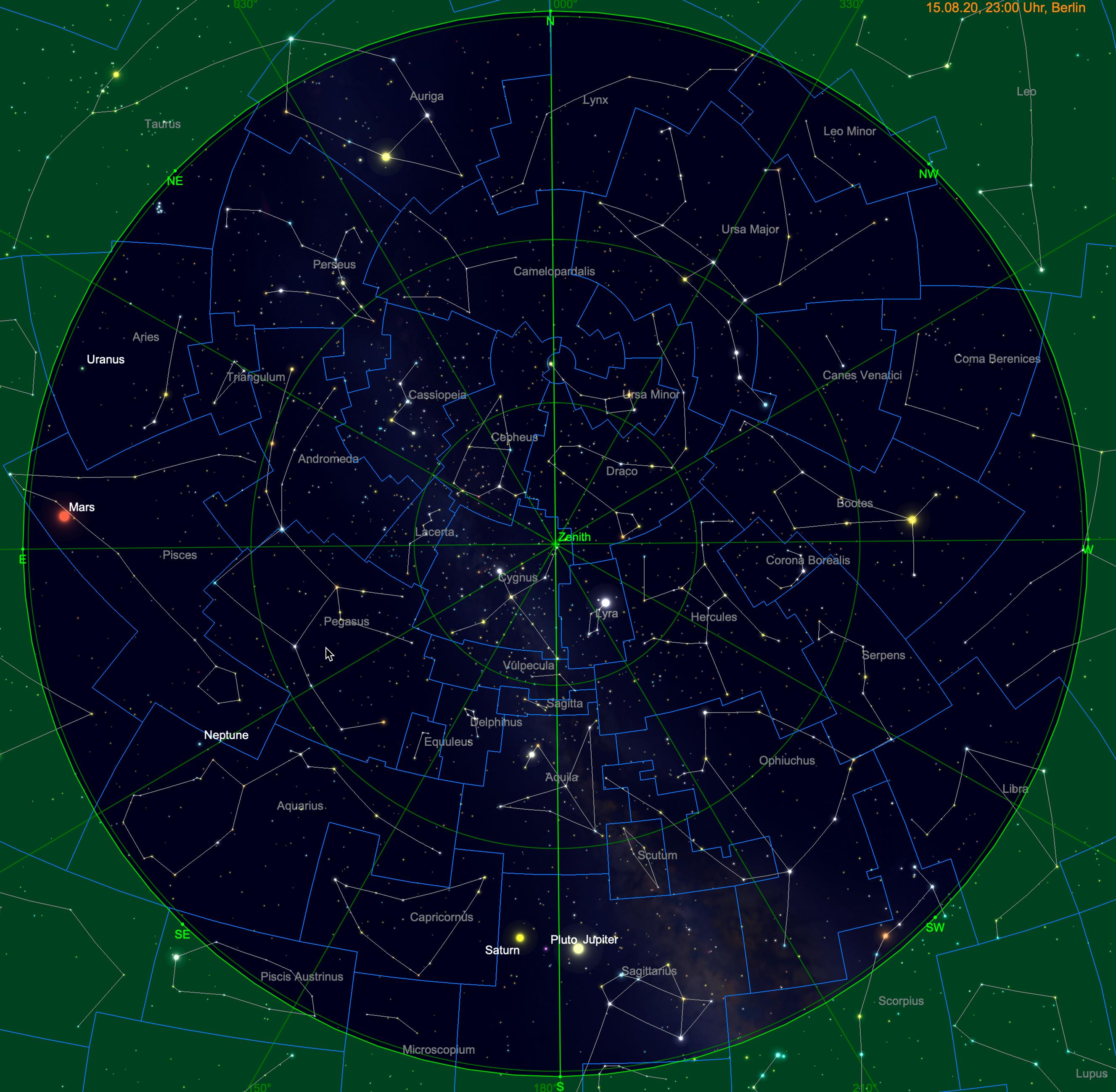 Meridiandurchgang von Jupiter und Saturn am 15. September