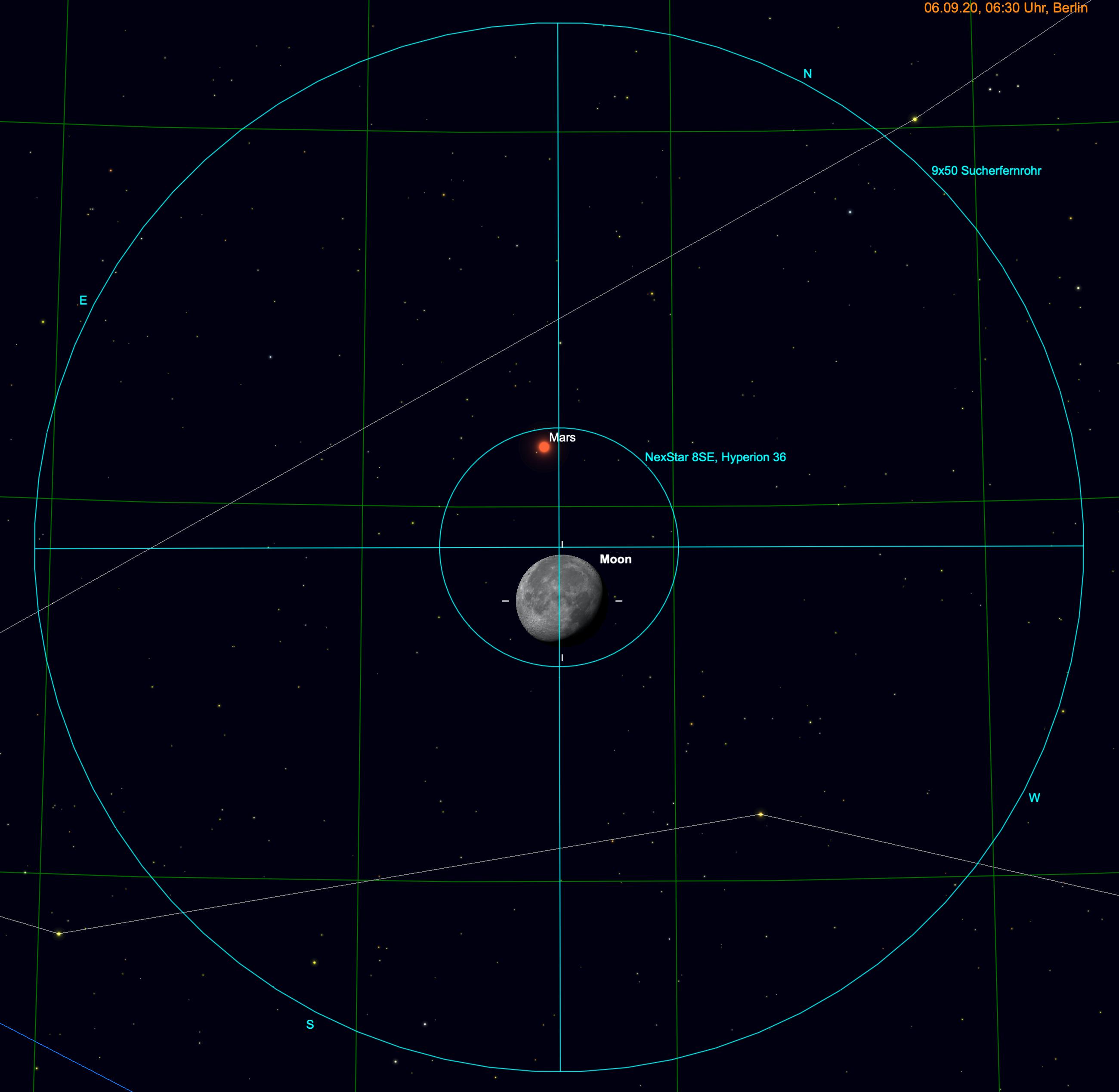 Mond und Mars im Fernglas und Teleskop.