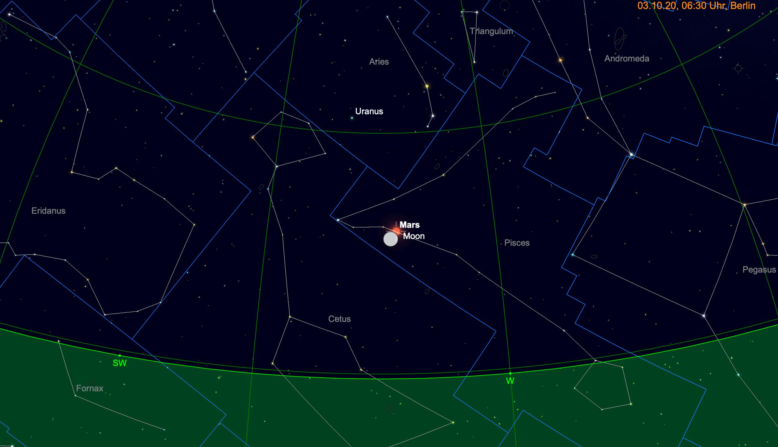 Mond eng beim Mars