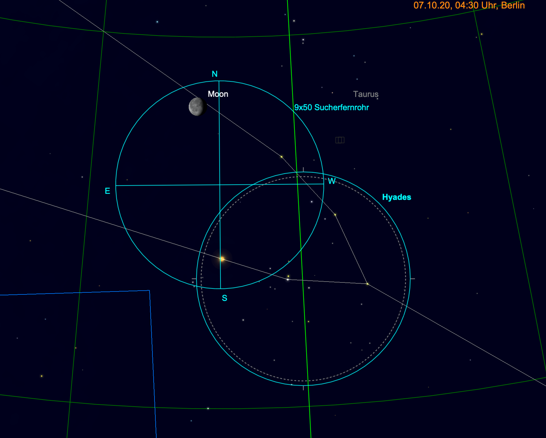 Mond und Aldebaran im Fernglas