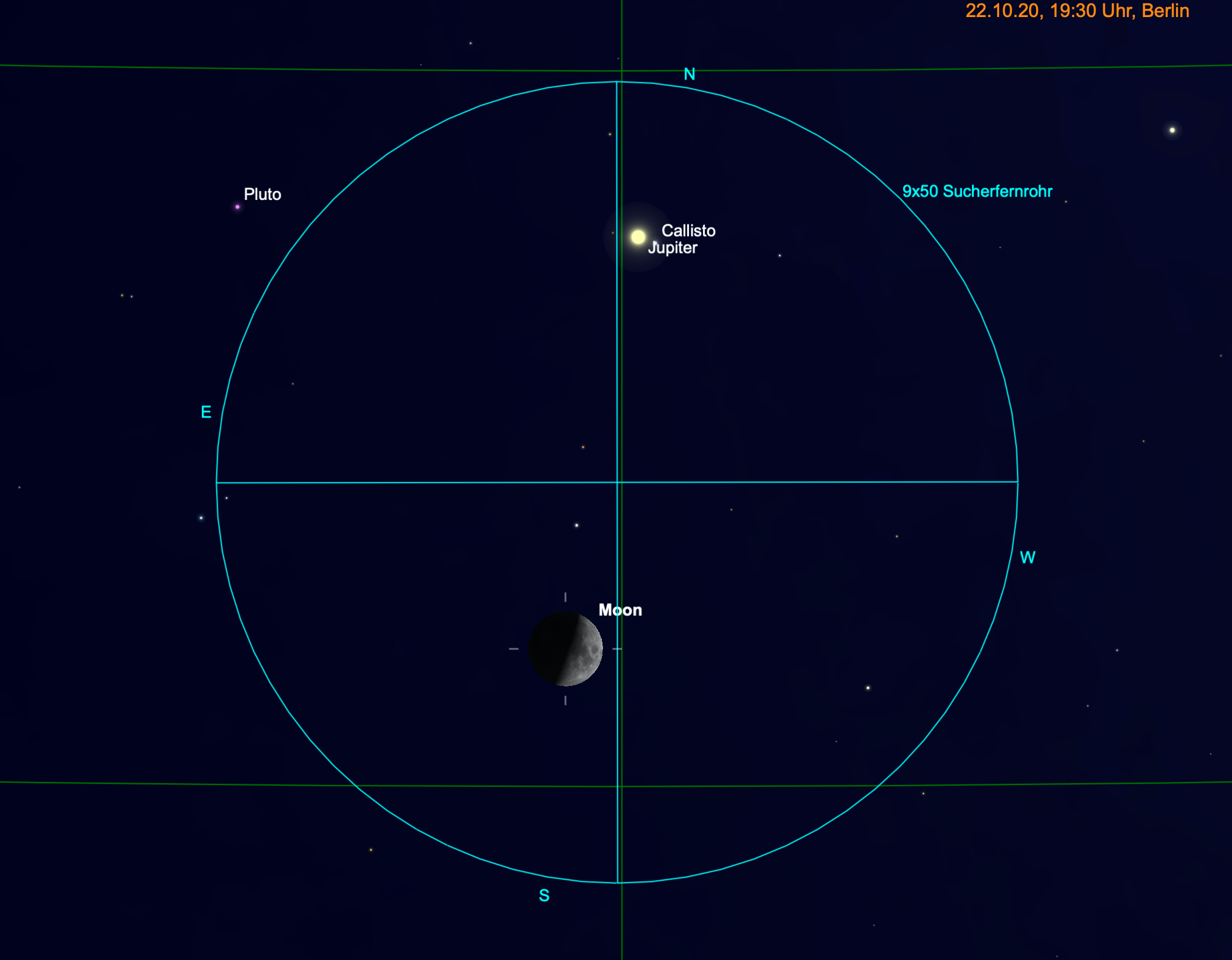 Mond und Jupiter am Fernglas