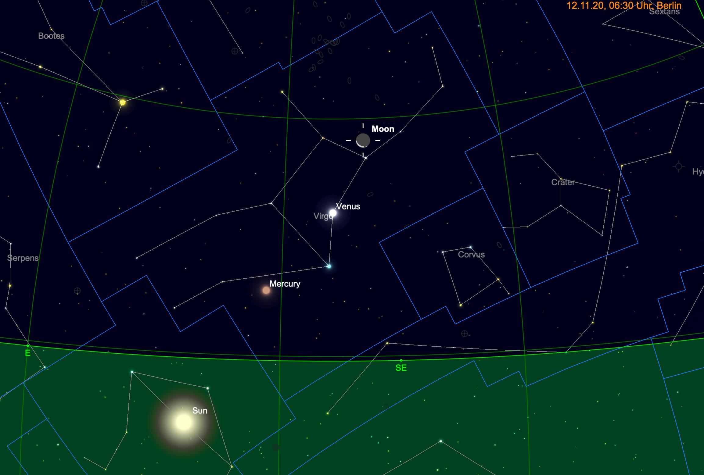 Mondsichel, Venus und Merkur