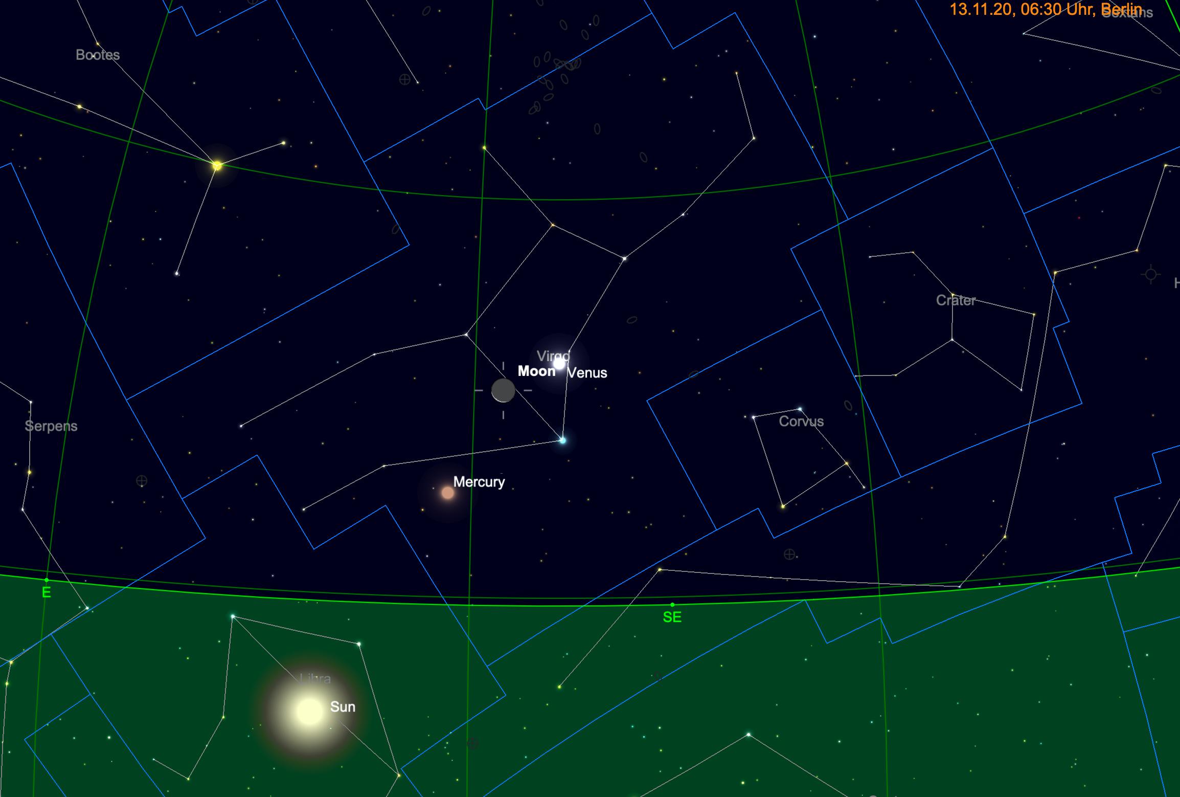 Venus, Mond und Merkur