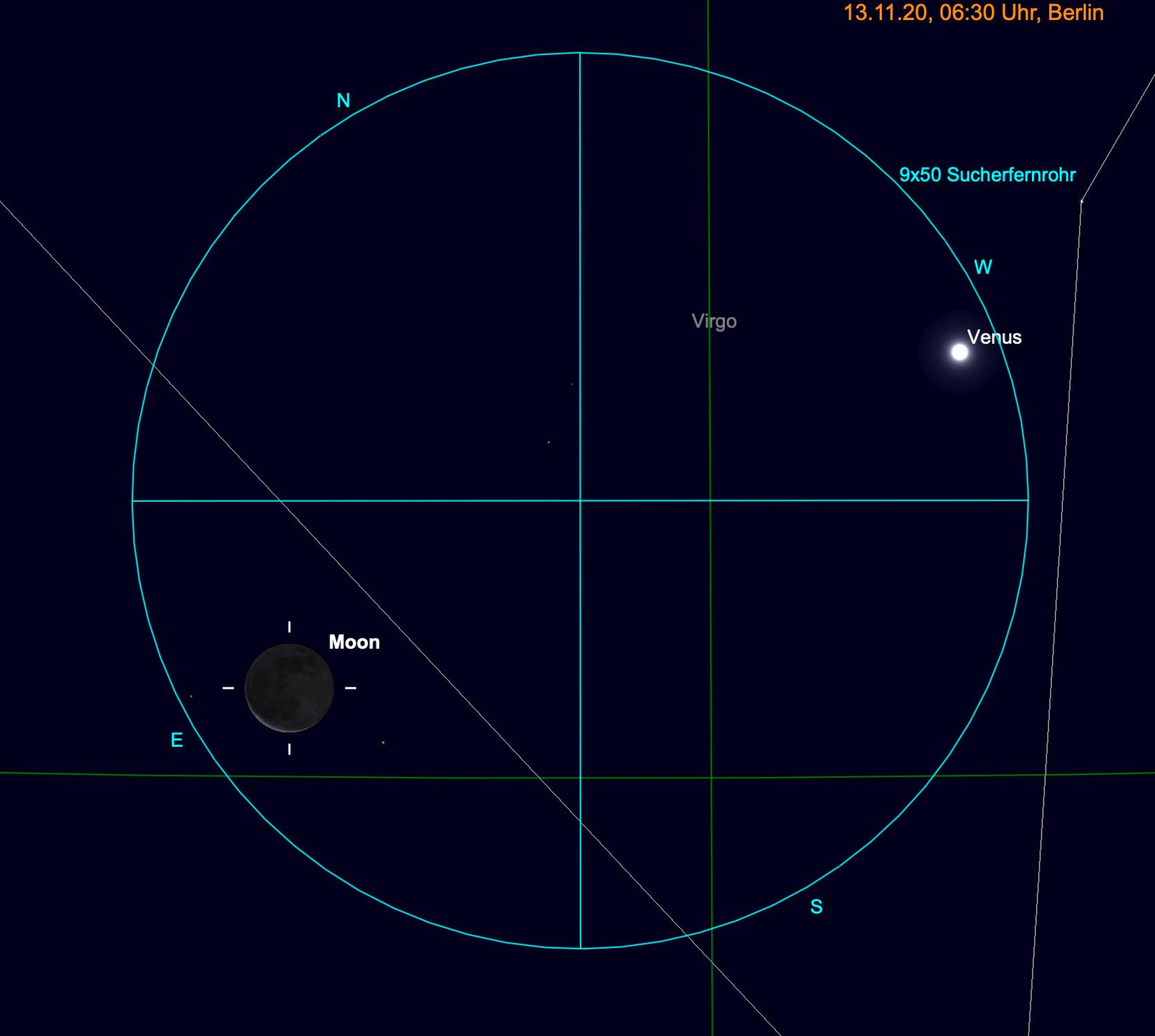 Mond und Venus im Fernglas