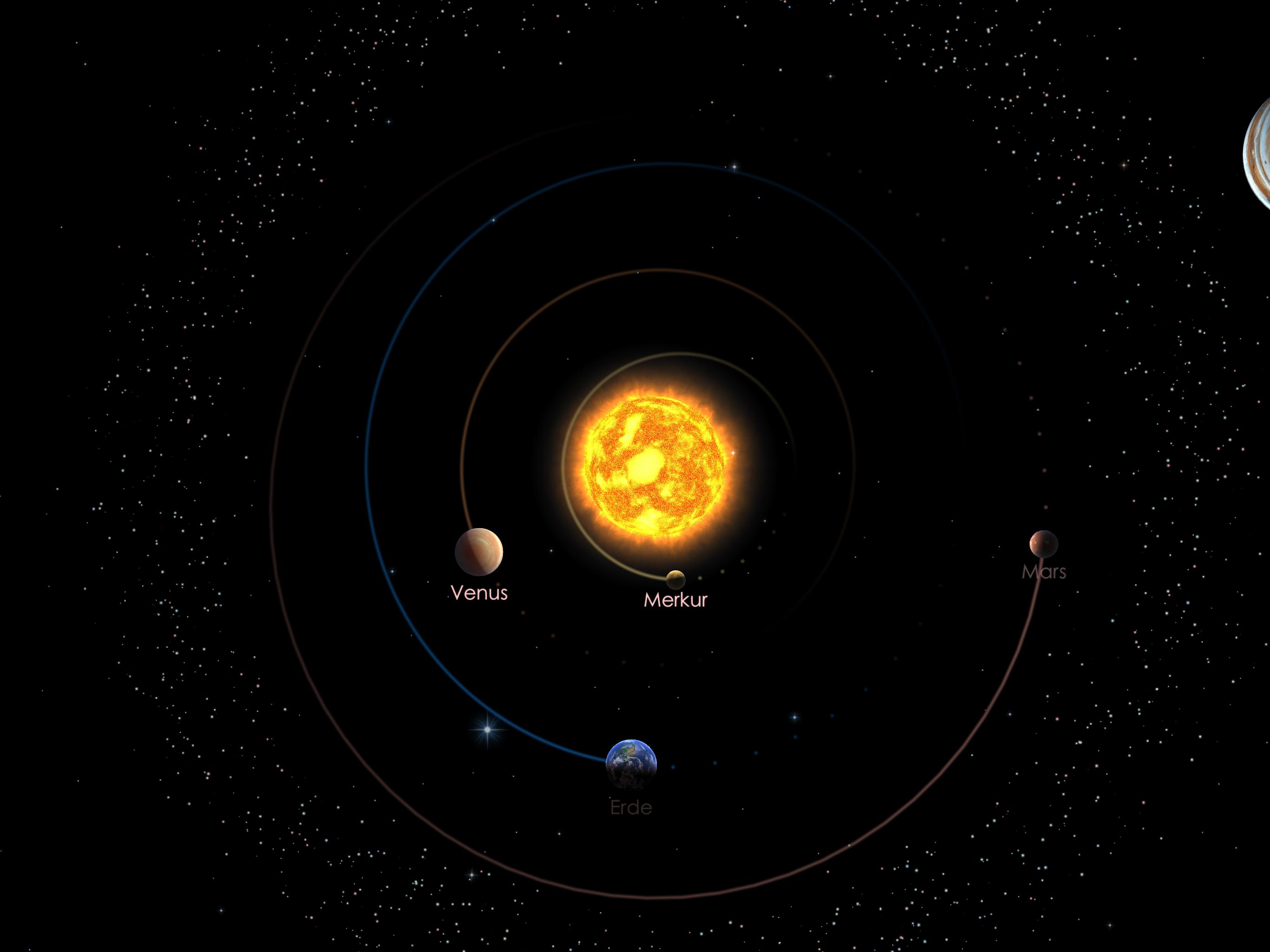 Die Positionen der inneren Planeten am 01.03.20