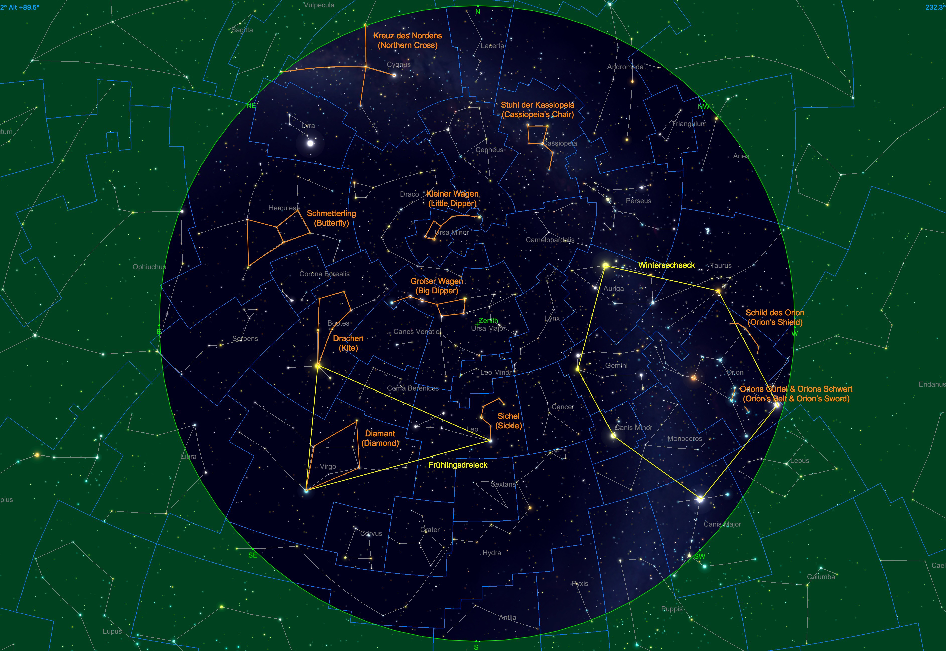 Sternhimmel am 15.03.20, 23:00 Uhr