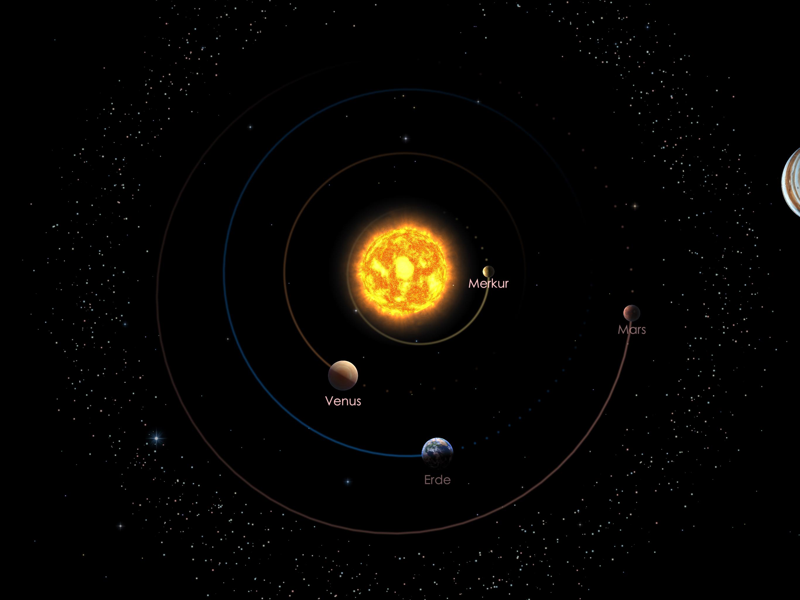 Die Positionen der inneren Planeten am 01.04.20