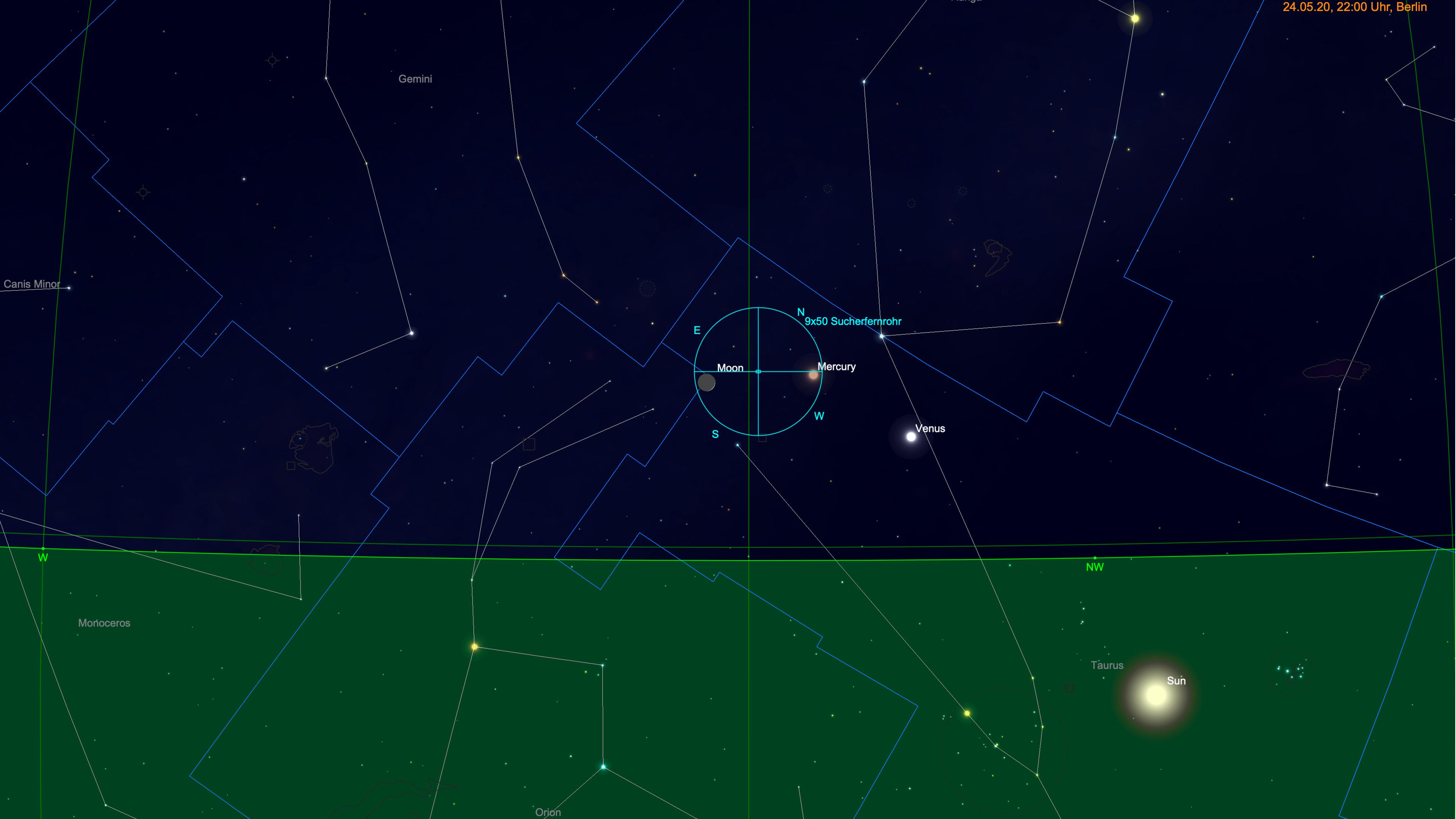 Schmale Mondsichel bei Venus und Merkur