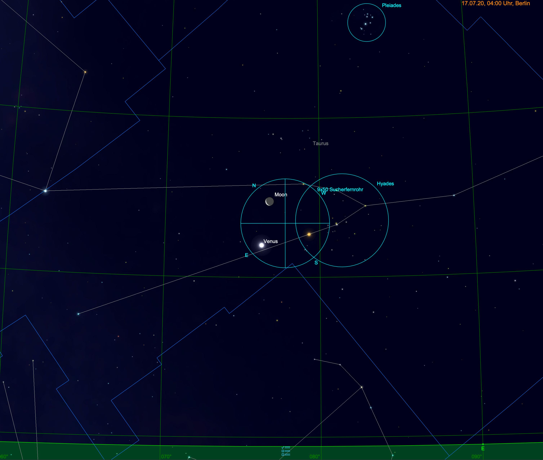 Mond, Venus, Aldebaran im Fernglas