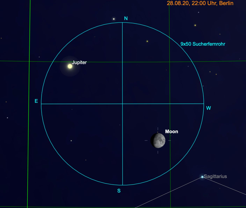 Mond und Jupiter im Fernglas