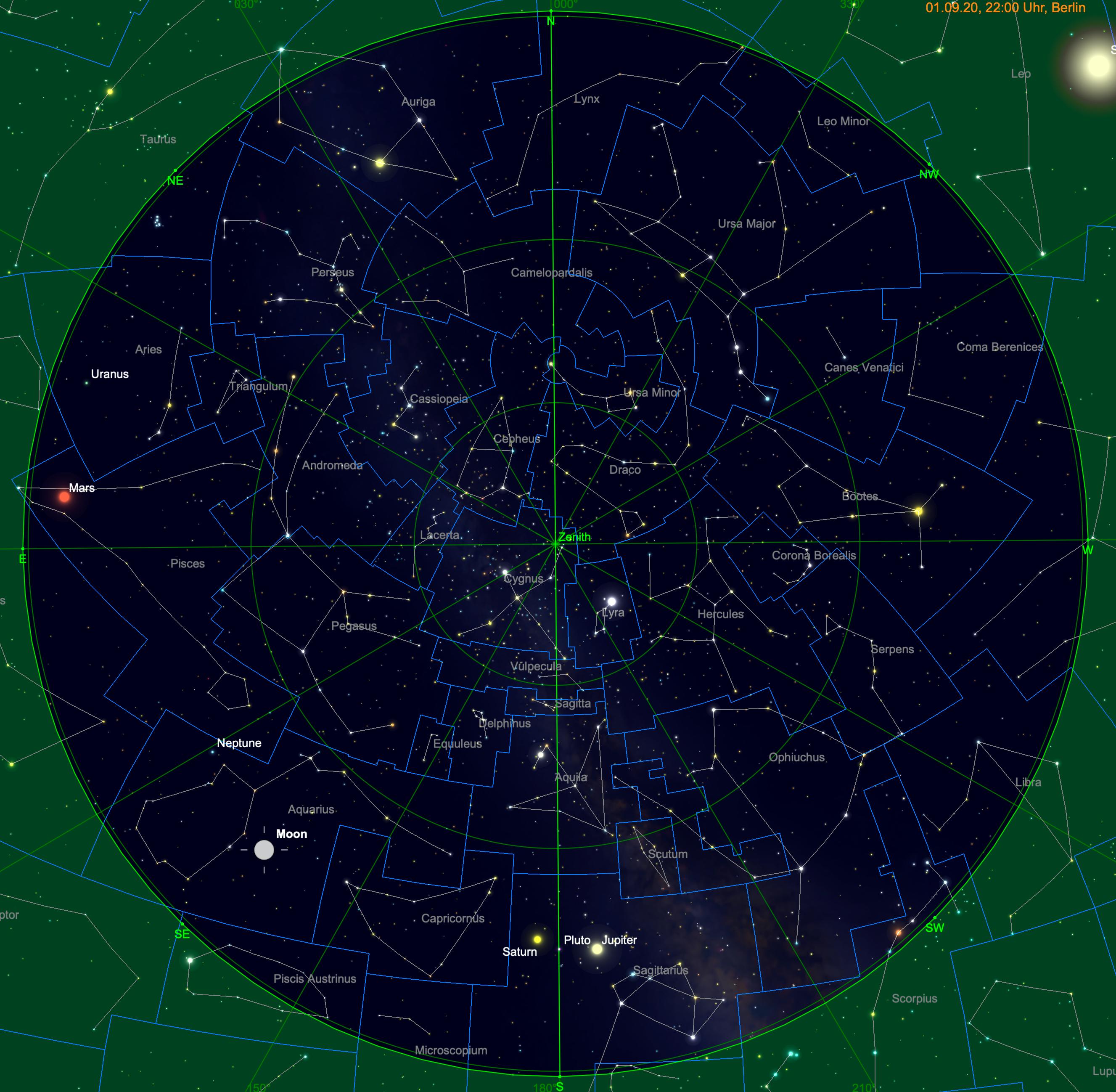 Meridiandurchgang von Jupiter und Saturn am 1. September