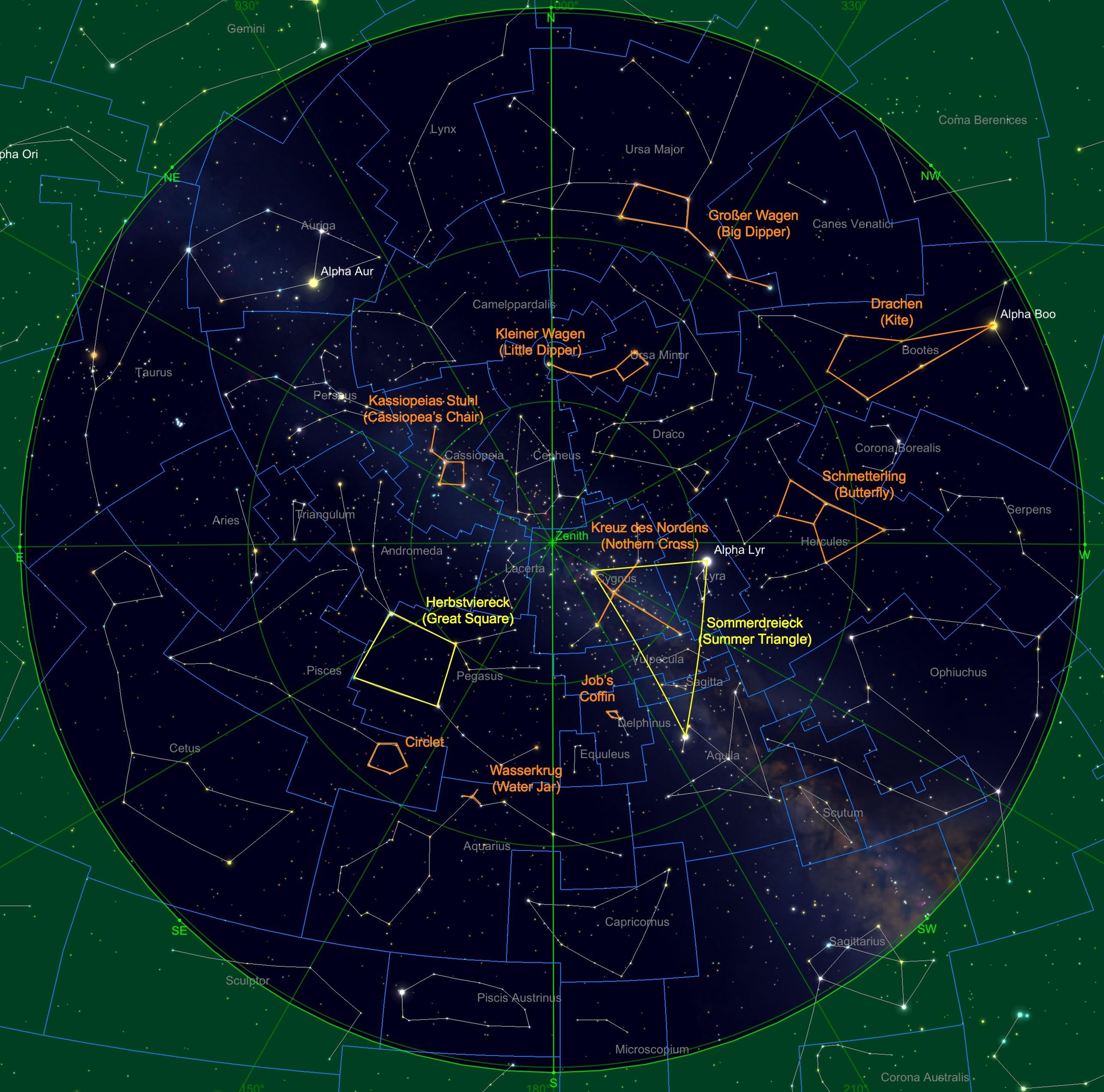 Sternhimmel am 15.09. um 23:00 Uhr