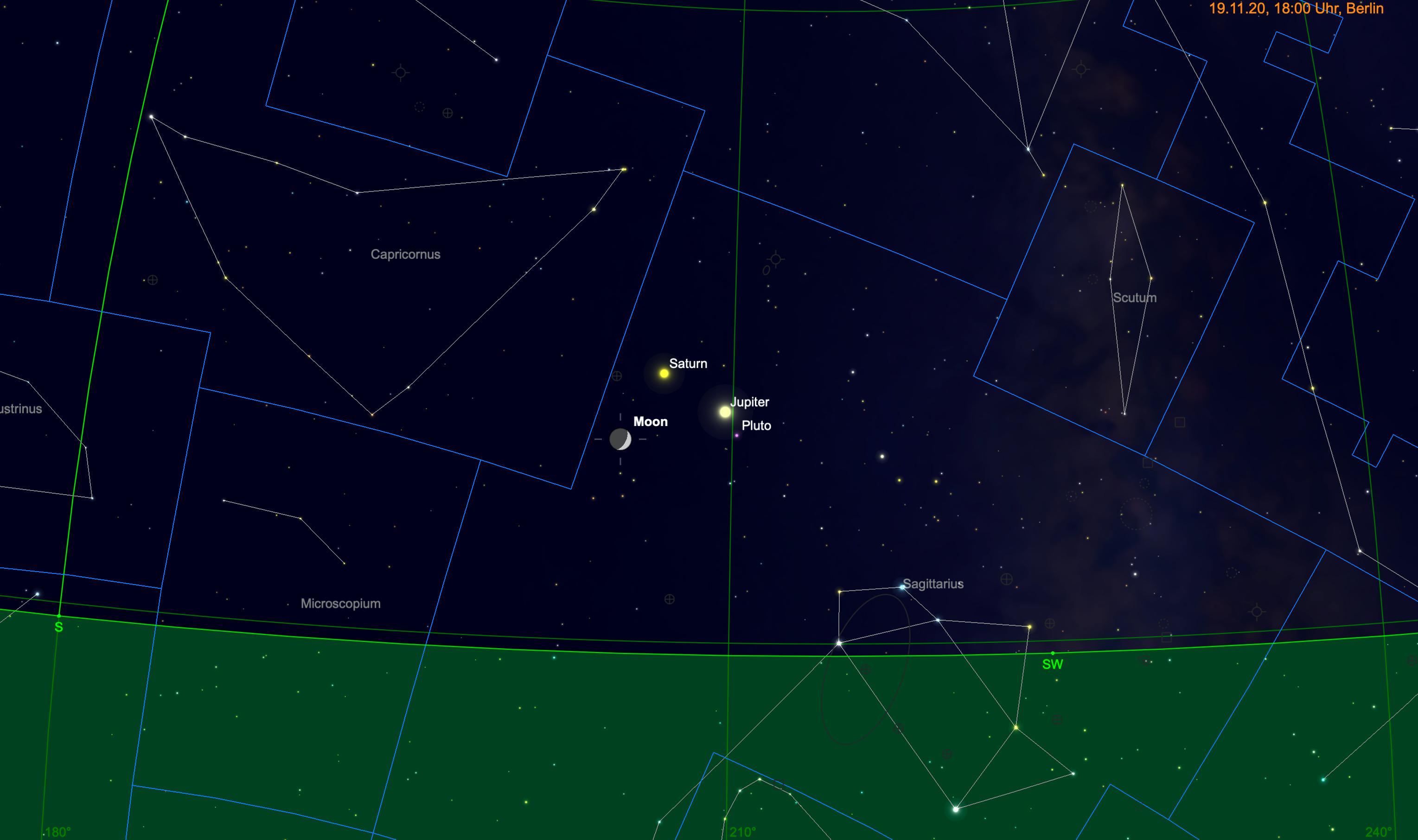 Mondsichel, Jupiter und Saturn