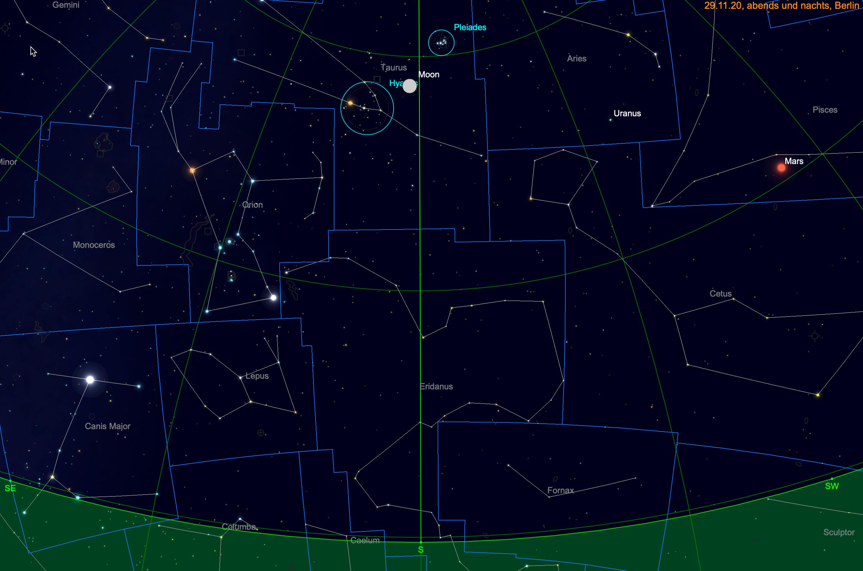 Mond zwischen Plejaden und Hyaden